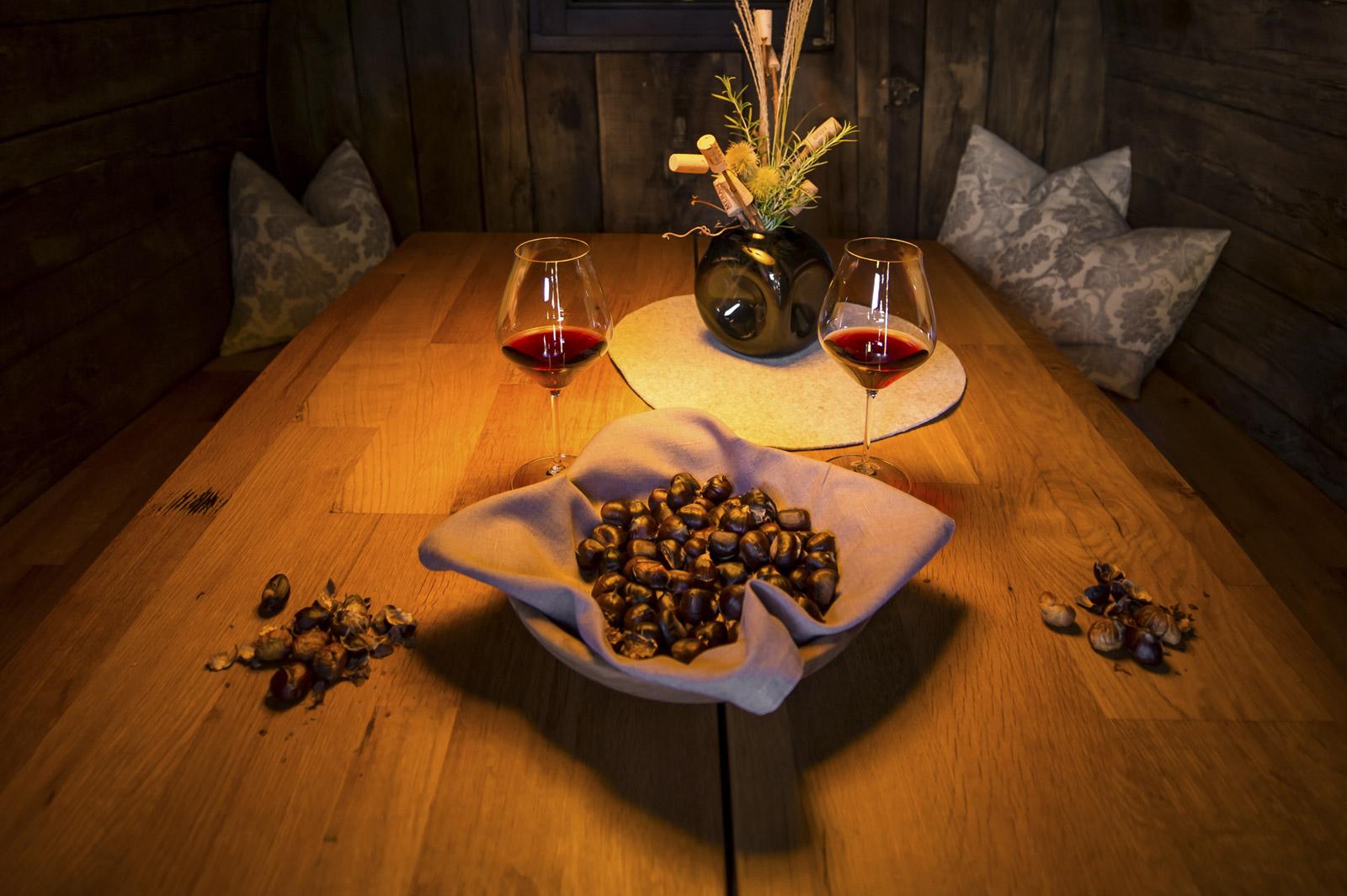 Kastanie und Rotwein
